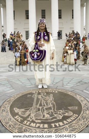 Female American Indian and Powhatan Tribal member, posing in front of Virginia State Capitol in Richmond Virginia during ceremonies for the 400th Anniversary of the Jamestown Settlement on May 3, 2007 - stock photo