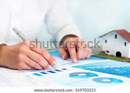 Female analyst reviewing home budget statistics. - stock photo