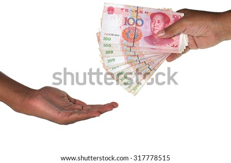 Female and Male hand hold Banknotes
