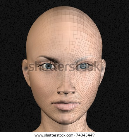 Female android figure wire frame futuristic 3d illustration. - stock photo