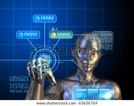 Female android using a futuristic interface. Digital illustration. - stock photo