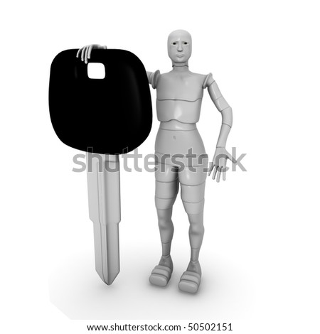 female android with car keys - stock photo
