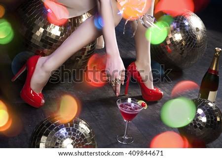 Female apparel in disco environment - stock photo
