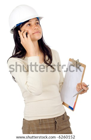 female architect on the phone isolated over a white background - stock photo