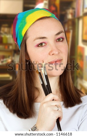 female artist in a studio - stock photo