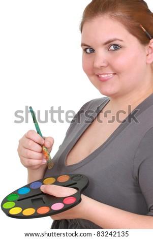 Female artist on white space - stock photo