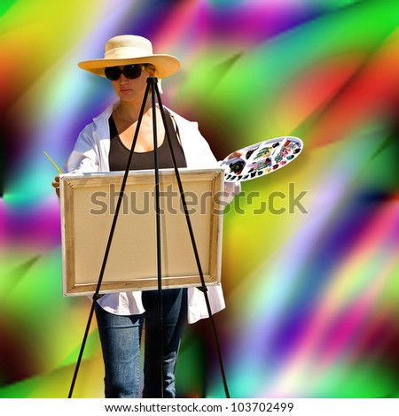 Female artist painting on easel and placed on colorful paint splash effect background - stock photo