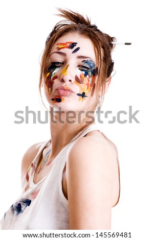 Female artist with his hands in the paint - stock photo