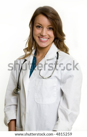 Female attractive doctor wearing white lab coat with a stethoscope around shoulders smiling standing on white background