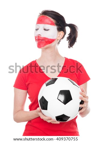 female austria soccer fan is looking challenging, isolated on white - stock photo