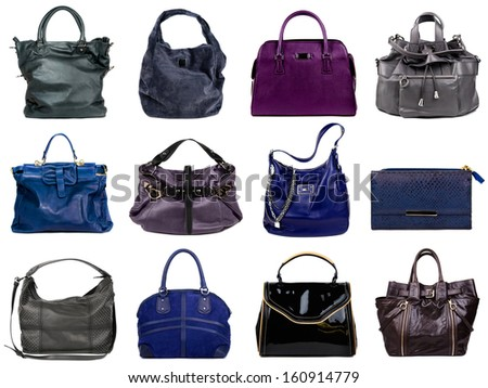 Female bags collection on white background - stock photo