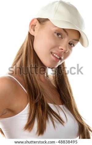 Female baseball fan - stock photo