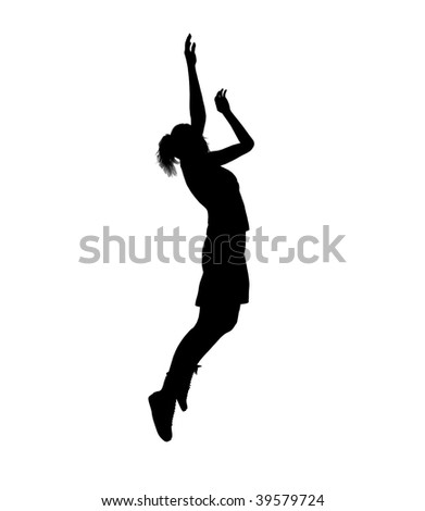Female basketball player silhouette on a white background - stock photo