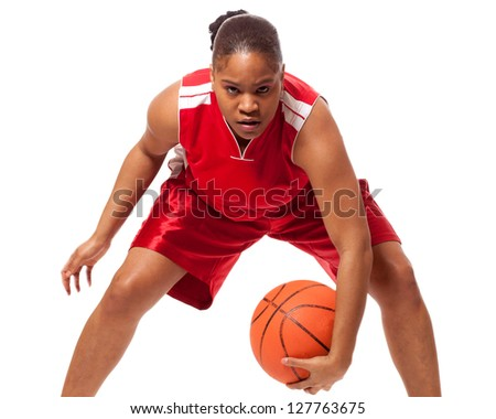 Female basketball player. Studio shot over white. - stock photo