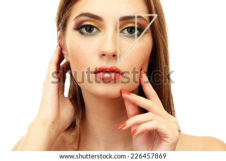 Female beauty concept. Perfect face proportions - stock photo