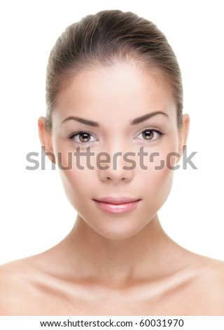 Female beauty portrait. Face closeup of stunning beautiful mixed Chinese Asian / Caucasian woman. Isolated on white background.