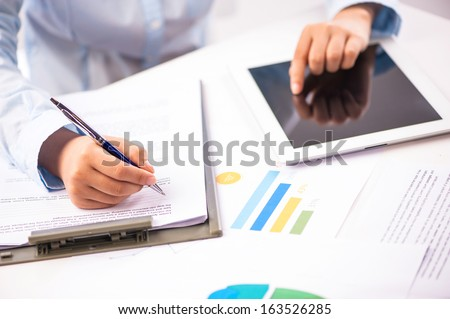 Female being ready to take notes - stock photo