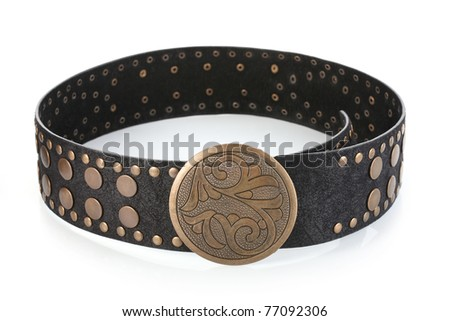 Female belt with flower shaped buckle, isolated on white - stock photo