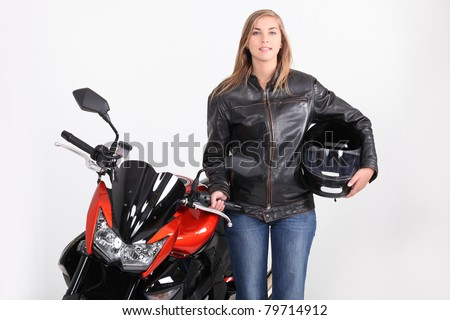 Female biker - stock photo