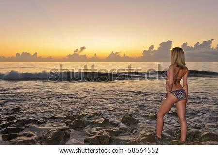 female bikini model watching at atlantic ocean beach - stock photo