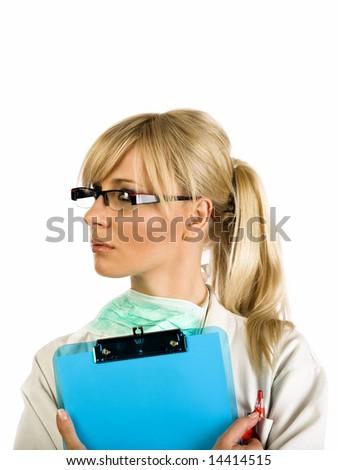 Female blond nurse holding a blue writing pad - stock photo