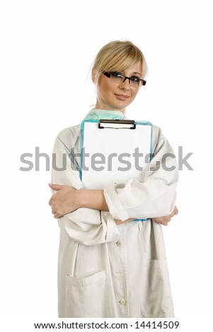 Female blond nurse holding a blue writing pad with a blank paper on it - stock photo
