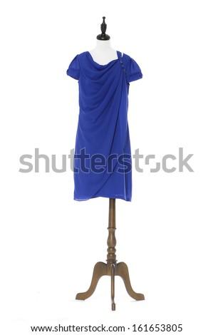 female blue evening dress on a dummy isolated- full-length  - stock photo