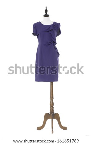 female blue evening dress on a dummy isolated on a white background  - stock photo