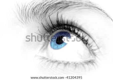 Female blue eye close up high key - stock photo