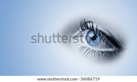 Female blue eyes - stock photo