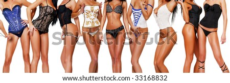 female bodies in corsets, isolated on a white background, please see some of my other parts of a body images