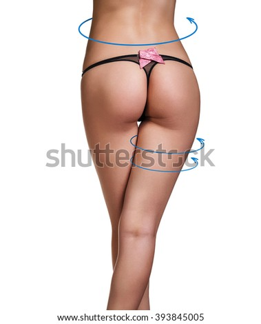 Female body with the blue arrows. Healthy nutrition, liposuction, sport and cellulite removal concept - stock photo
