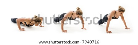 Female Bodybuilder doing push-ups in a series - stock photo