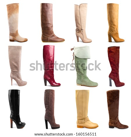 Female boots collection on white background - stock photo