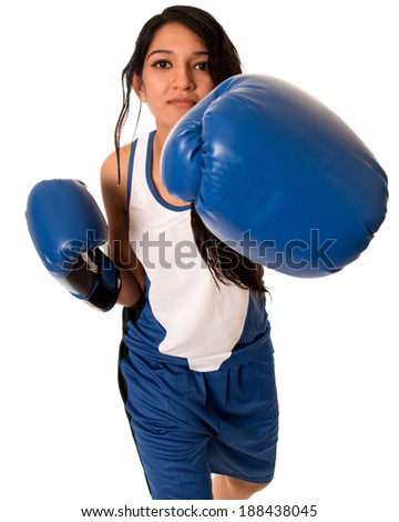Female boxer in blue. Studio shot over white. - stock photo