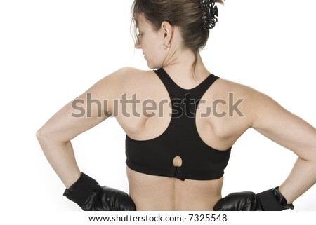 female boxer isolated on white