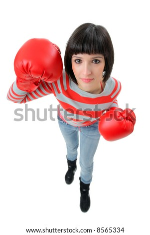 Female boxer isolated on white background