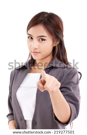 female business executive, business woman looking and pointing at you : white background - stock photo