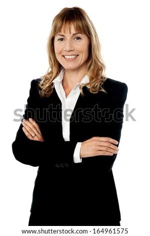 Female business executive isolated on white - stock photo