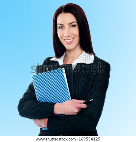 Female business executive posing smartly