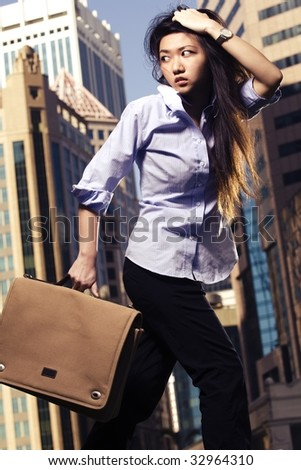 female business woman late for work