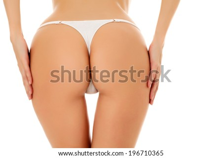 Female butt, white background
