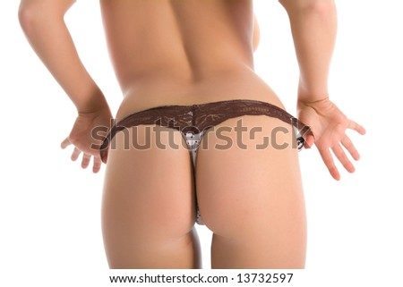 Female buttocks with brown g-string