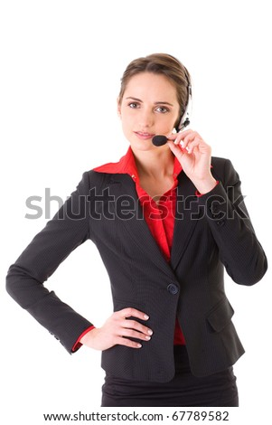 female call center customer assistant with headphones, isolated on white background - stock photo