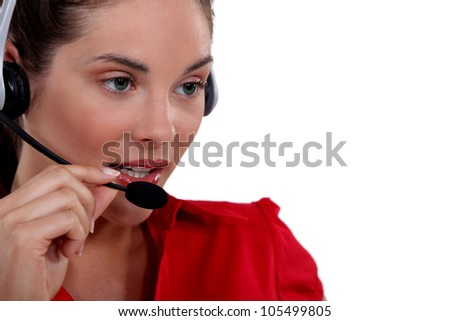 Female call-center worker - stock photo