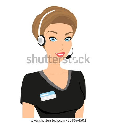 Female call centre operator with headset and smiling - stock photo