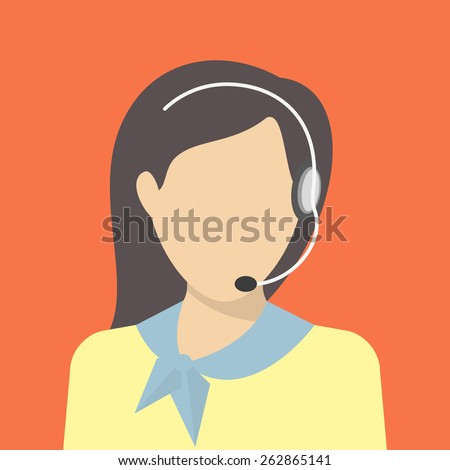 Female call centre operator with headset. Flat moderm style
