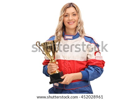 Female car racing champion holding a golden cup isolated on white background - stock photo