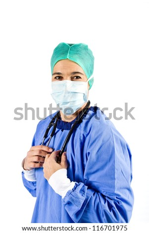 Female cardiac surgeon with mask and Stethoscope
