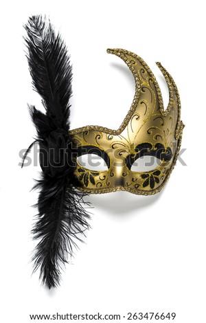 Female carnival mask isolated on white background - stock photo
